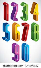 3d extra tall numbers set made with round shapes, colorful glossy numerals for advertising and web design.