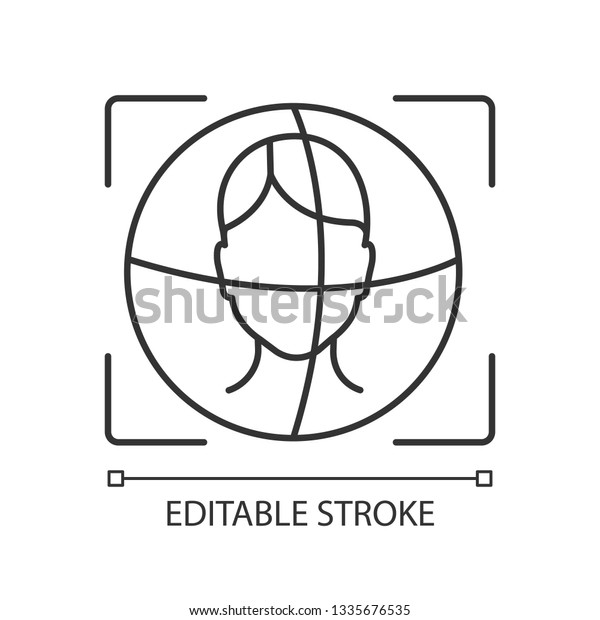 3d Face Id Scanner Linear Icon Stock Vector (Royalty Free