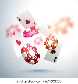 3D falling poker chips and playing cards with blurred effect. Creative Casino background.