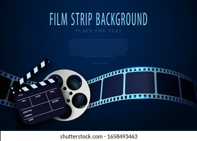 3D Film reel, clapper board and twisted cinema strip isolated on blue background. Movie poster template with sample text for cinema design. Cinematography concept. 3d movie flyer or poster. Vector