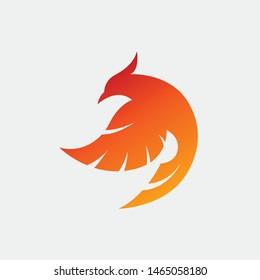3D fire bird phoenix logo concept. eagle, hawk, falcon and wing vector