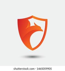 3D fire bird phoenix and shield logo concept. eagle, hawk, falcon