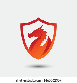 3D fire dragon logo concept. dragon illustration with modern gradien color