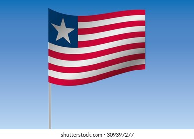 A 3D Flag Illustration waving in the sky of the country of Liberia