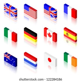 3D flag illustrations. UK, America, France, Italy, Germany, Canada, Spain, Australia, The Netherlands, Japan and Ireland