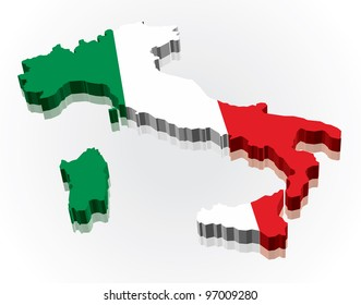 3D Flag Map of Italy