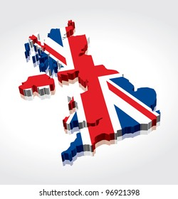 3D Flag Map of the UK (United Kingdom)