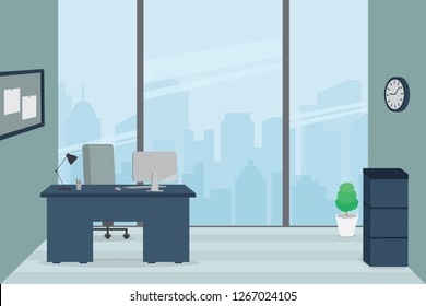 3d flat design modern office interior. Office desk - table  chair, computer,lamp and pen stand.