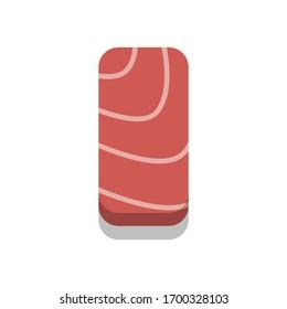 3D flat design style Japanese food : Nigirizushi or nigiri sushi of fresh raw Tuna or Maguro sashimi slice icon isolated on white background illustration in vector