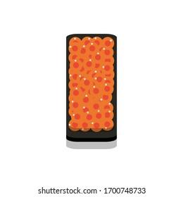 3D flat design style Japanese food : Battleship roll or Gunkanmaki sushi of fresh raw Salmon roe eggs or Ikura icon isolated on white background illustration in vector