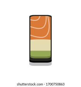 3D flat design style Japanese food : Battleship roll or Gunkanmaki sushi of fresh raw Salmon and avocado icon isolated on white background illustration in vector
