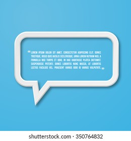 3d flat frame speech bubble icon for text quote. Vector blank template
