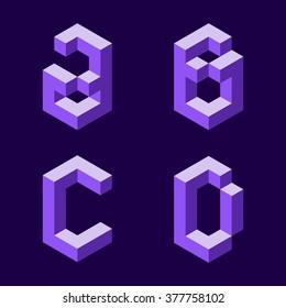 3d flat isometric alphabet. Letters - A,B,C,D