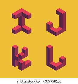 3d flat isometric alphabet. Letters - I,J,K,L