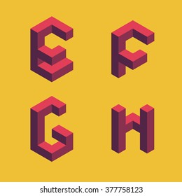3d flat isometric alphabet. Letters - E,F,G,H