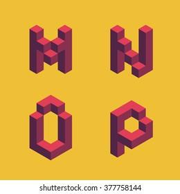3d flat isometric alphabet. Letters - M,N,O,P