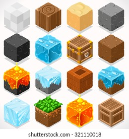 3D Flat Isometric Mine Cubes HD Starter Kit Ground Water Iron Coal Grass Rock Ice Sand Wood Stone Elements Icon Mega Set Collection for Builder Craft. World