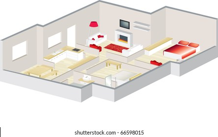 3D floorplan with furniture visualised for an apartment or a house
