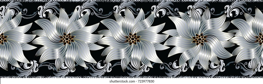 3d flowers seamless border. Floral repeat pattern. Vector flourish black background with silver white gold surface 3d flowers, scroll leaves, grunge lines and Baroque ornaments. Modern 3d wallpaper.