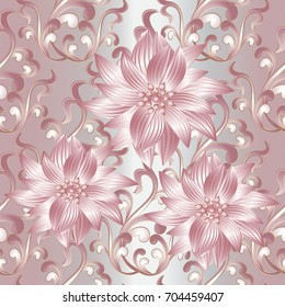 3d flowers seamless pattern. Vintage silver floral background wallpaper illustration with pink abstract 3d flowers, scroll leaves and antique ornaments in Baroque victorian style.Vector luxury texture