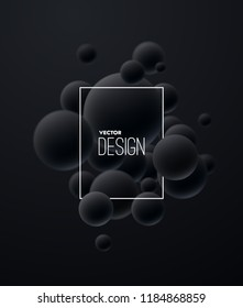 3d flowing black spheres. Vector abstract illustration of black balls cluster. Modern trendy concept. Dynamic decoration element. Futuristic poster or cover design