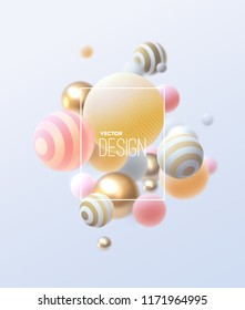 3d flowing spheres. Vector abstract illustration of multicolored bubbles or balls cluster. Modern trendy concept. Dynamic decoration element. Futuristic poster or cover design
