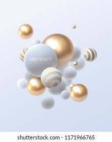3d flowing spheres. Vector abstract illustration of white and golden balls cluster. Modern trendy concept. Dynamic decoration element. Futuristic poster or cover design