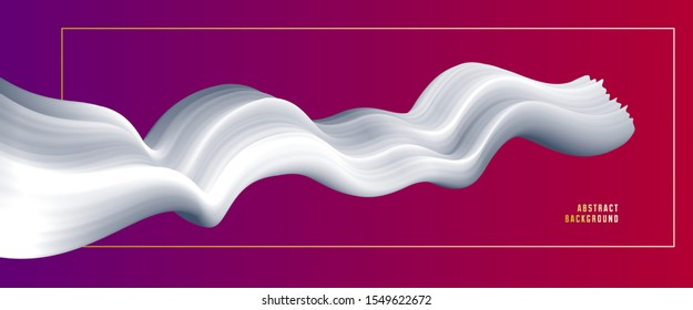 3D fluid gradient color vector abstract background, dimensional dynamic shape in motion, flowing colors design element, trendy modern style.