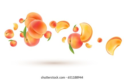 3d flying peaches on white. Vector realistic illustration