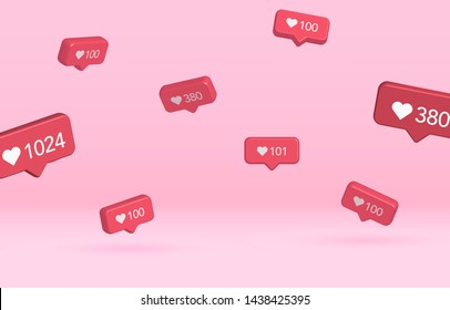 3d flying picture of notification with background and shadow. Social media like icon with different number and various size. Design Elements for Web, Internet, App, Advertisement, Promotion. Vector.