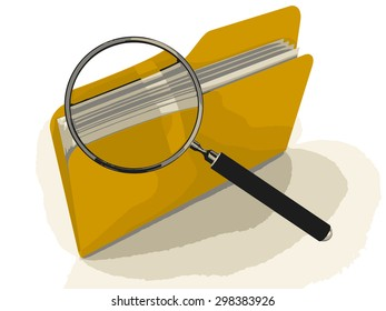 3D Folder with Magnifying Glass