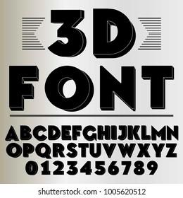 3d font alphabet typeface black vector
