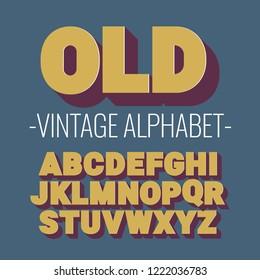 3d font alphabet. vintage style, sanserif font. Letters and numbers. Vector illustration