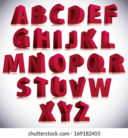 3D font, big red letters standing, vector eps 8.