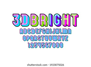 3D Font from geometric module, trendy bright alphabet, modern condensed capital Latin letters from A to Z and Arab numbers from 0 to 9 for you designs, vector illustration 10EPS