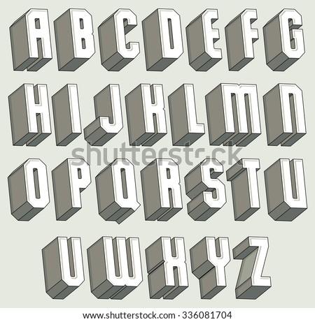 3 d font geometric threedimensional letters set stock vector