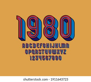 3D Font from retro color, trendy red alphabet with blue line, condensed letters and numbers, vector illustration 10eps