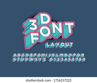 3D font set in vector format