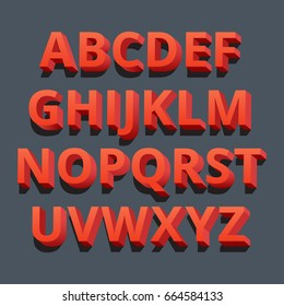 3d font. Three-dimensional alphabet letters. Vector illustration.
