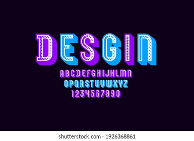 3d font, trendy graphic alphabet, modern letters and numbers with halftone effect, vector illustration 10EPS