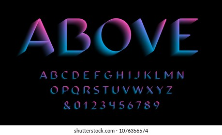 3D font. Vector alphabet with latin letters and numbers.