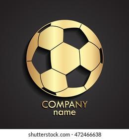 3d football ball golden logo / soccer sport symbol