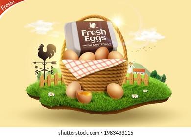 3d fresh eggs advertisement for farm product display. A basket of organic brown eggs set on miniature grassy farm land.