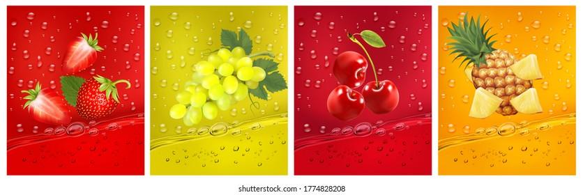 3d fresh fruits. Fresh fruits juice splashing together- pineapple, strawberry, cherry, grapes juice drink splashing. Vector illustration