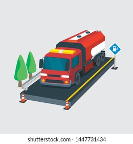 3d Fuel Tanker Truck Isometric and Detailed Vector old school with sirene