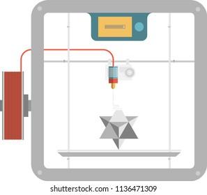 3D Fused deposit modeling. 3D printer making prototypes. FDM printing process. Vector illustration.