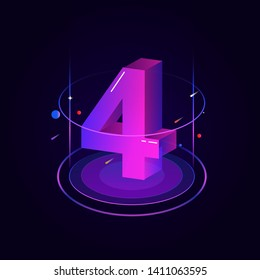 3d futuristic blue purple solid number vector on dark background, shiny isometric count down illustration with shimmer, digital design for web e-commerce sales promotion, typography of four 4 symbol