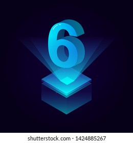 3d futuristic blue solid number vector on square platform, shiny digital isometric count illustration with spotlight shimmer on light cube stage, technology typography of number six 6 symbol