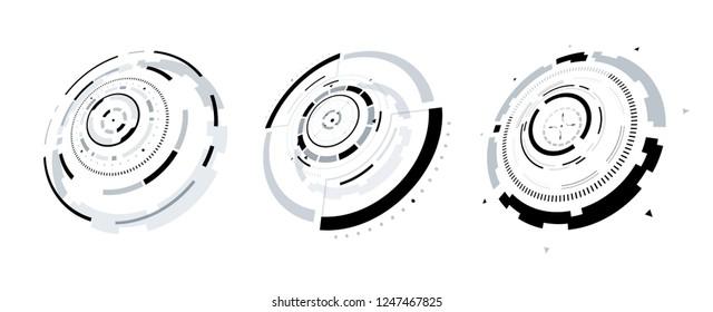 3D Futuristic Circle Elements Set. Virtual Reality Hologram Technology Concept