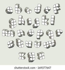 3d futuristic font made with boxes, geometric dimensional letters set, monochrome alphabet for design.